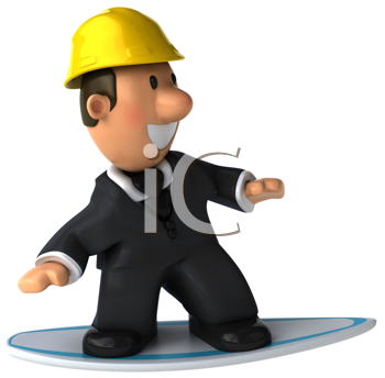 Royalty Free Clipart Image of a Man in a Suit and Hardhat on a Surfboard