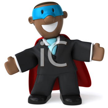 Royalty Free Clipart Image of a Happy Superhero Businessman
