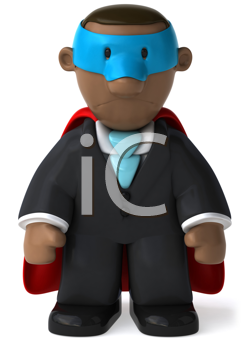 Royalty Free Clipart Image of a Sad Black Businessmen Superhero