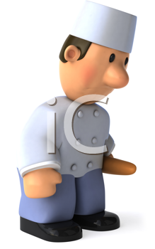Royalty Free Clipart Image of a Baker Looking Sad
