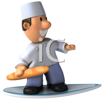 Royalty Free Clipart Image of a Baker on a Surfboard With a Baguette