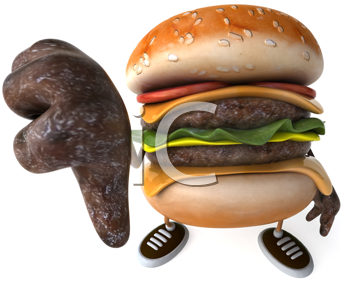 Royalty Free Clipart Image of a Burger Giving a Thumbs Down