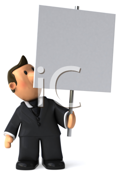 Royalty Free Clipart Image of a Businessman With a Placard