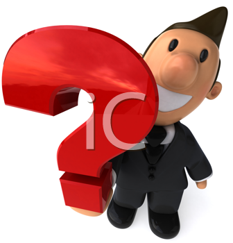 Royalty Free Clipart Image of a Businessman With a Question Mark