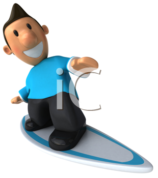 Royalty Free Clipart Image of a Man on a Surfboard