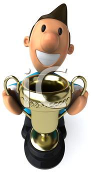 Royalty Free Clipart Image of a Man With a Trophy