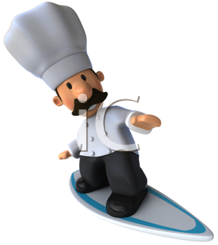 Royalty Free Clipart Image of a Chef on a Surboard