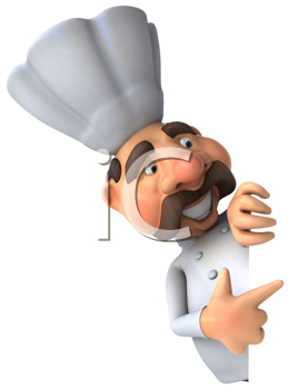 Royalty Free Clipart Image of a Pointing Chef