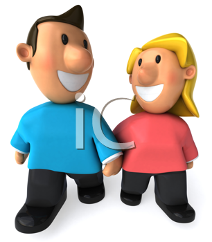 Royalty Free Clipart Image of a Couple Walking Hand in Hand