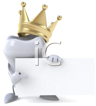 Royalty Free Clipart Image of a Tooth With a Crown and Blank Sign