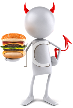 Royalty Free Clipart Image of a Devil With a Cheeseburger