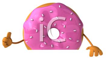 Royalty Free Clipart Image of a Pink Doughnut Giving a Thumbs Up