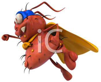 Royalty Free Clipart Image of a Flying Superhero Germ