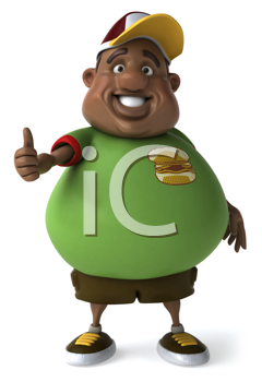Royalty Free Clipart Image of a Black Man Giving a Thumbs Up