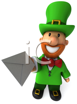 Royalty Free Clipart Image of a Leprechaun With an Envelope