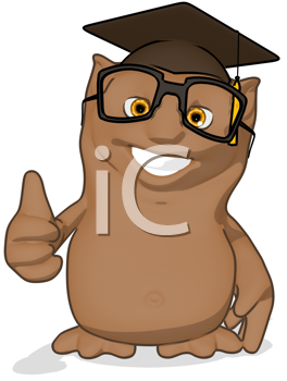 Royalty Free Clipart Image of an Owl Professor Giving a Thumbs Up