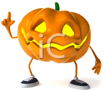Royalty Free Clipart Image of a Jack-o-Lantern With His Finger Raised