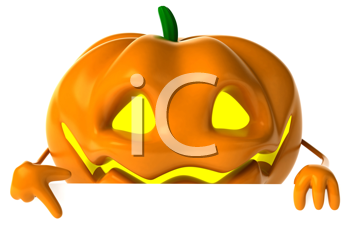 Royalty Free Clipart Image of a Jack-o-Lantern Pointing Down