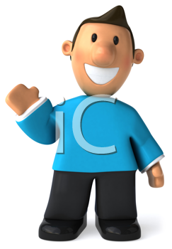 Royalty Free Clipart Image of a Waving Man