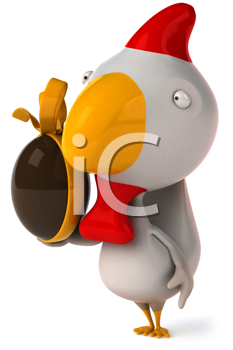 Royalty Free Clipart Image of a Chicken With a Chocolate Easter Egg