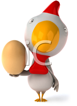Royalty Free Clipart Image of a Chicken With an Egg