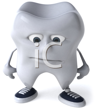 Royalty Free Clipart Image of a Sad Tooth