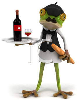Royalty Free Clipart Image of a Frog Serving Wine and Baguette