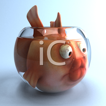 Royalty Free Clipart Image of a Big Fish in a Small Fishbowl