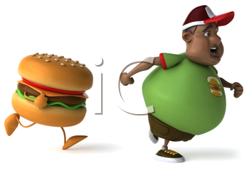 Royalty Free Clipart Image of a Burger Chasing an Overweight Black Man
