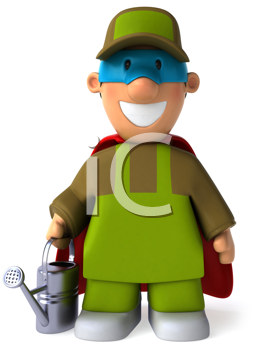 Royalty Free Clipart Image of a Superhero Gardener