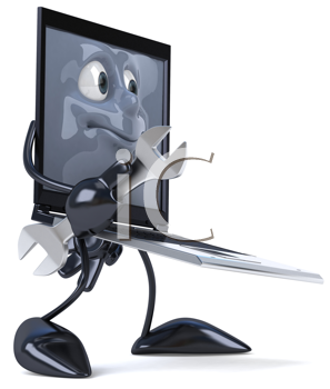 Royalty Free Clipart Image of a Laptop With Tools
