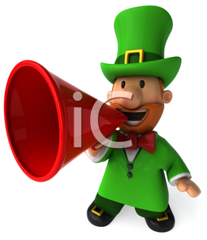 Royalty Free Clipart Image of a Leprechaun With a Megaphone