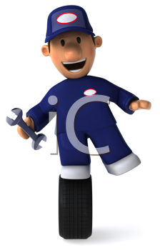 Royalty Free Clipart Image of a Mechanic Holding a Wrench and Standing on a Tire