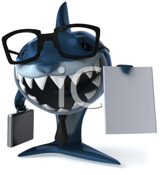 Royalty Free Clipart Image of a Business Shark With a Contract