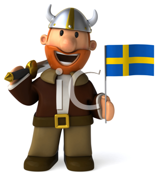 Royalty Free Clipart Image of a Viking With a Swedish Flag