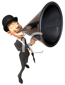 Royalty Free Clipart Image of an English Gentleman With a Bullhorn