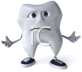 Royalty Free Clipart Image of a Sad Tooth in Sneakers