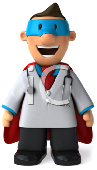 Royalty Free Clipart Image of a Superhero Doctor