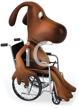 Royalty Free Clipart Image of a Dog in a Wheelchair