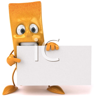 Royalty Free Clipart Image of a French Fry With a Banner