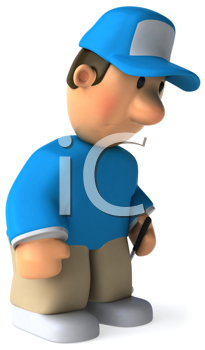 Royalty Free Clipart Image of a Dejected Golfer