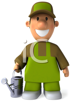 Royalty Free Clipart Image of a Man With a Watering Can