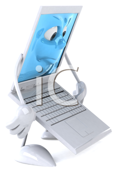 Royalty Free Clipart Image of a Sad Laptop