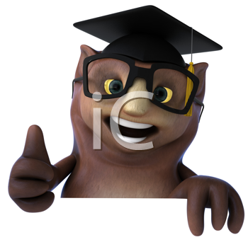Royalty Free Clipart Image of an Owl Professor