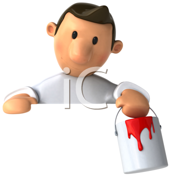 Royalty Free Clipart Image of a Painter With a Sign