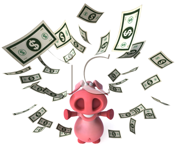 Royalty Free Clipart Image of a Pig Juggling Money