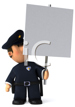 Royalty Free Clipart Image of a Cop With a Poster