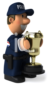 Royalty Free Clipart Image of a Cop With a Cup