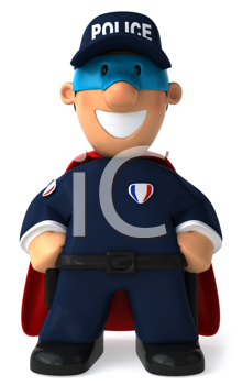 Royalty Free Clipart Image of a Caped Crusader Cop