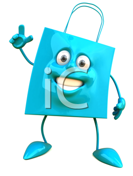 Royalty Free Clipart Image of a Happy Bag
